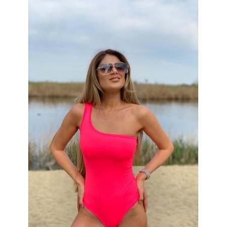 Body dama lycra roz neon cu umar gol