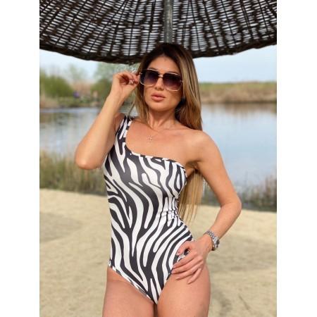 Body dama lycra alb Zebra cu umar gol