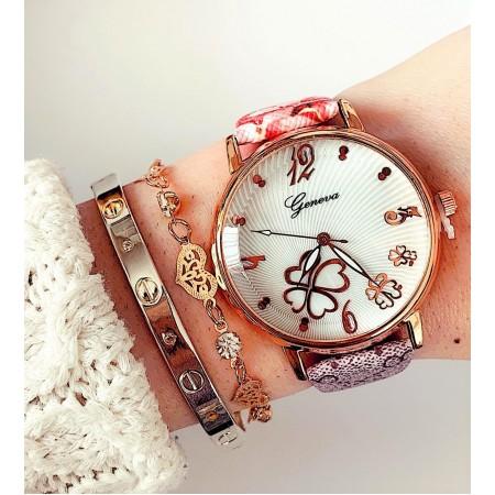 Ceas dama colorat  cu model floare din piele ecologica