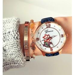 Ceas dama elegant albastru inchis cu model floare din piele ecologica