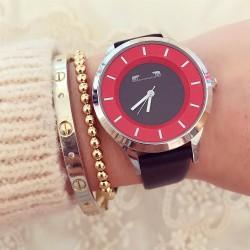 Ceas dama negru-rosu sport-casual din material piele ecologica