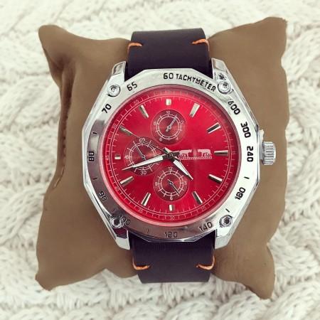 Ceas barbatesc negru cu rosu din piele ecologica premium