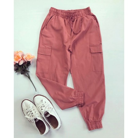 Pantaloni dama casual de zi roz 3 sferturi cu buzunare