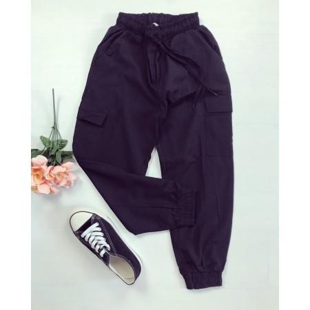 Pantaloni dama casual de zi negri 3 sferturi cu buzunare