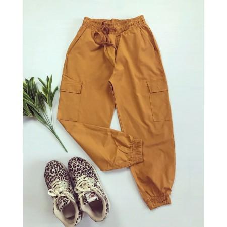 Pantaloni dama casual de zi galben mustar 3 sferturi cu buzunare