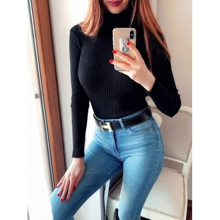 Bluza dama pe gat neagra casual de zi cu maneca lunga