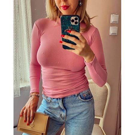 Bluza dama roz pe gat din material premium