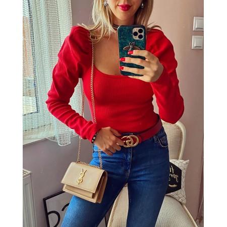 Bluza dama rosie cu volanase din bumbac