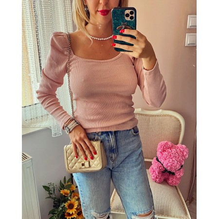 Bluza dama rose cu volanase din bumbac