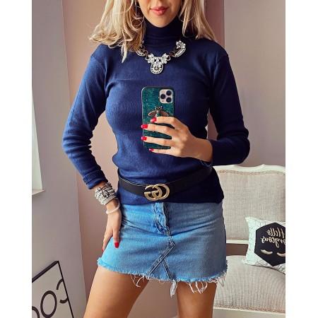 Bluza dama bleumarin pe gat din bumbac