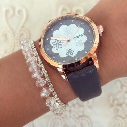 Ceas dama elegant gri inchis cu model din piele eco