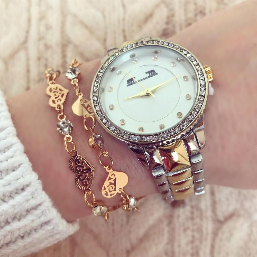 Ceas dama elegant argintiu-auriu cu pietricele si cadran alb