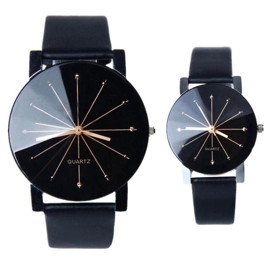 Set ceasuri cuplu EL & Ea negru elegant din piele ecologica