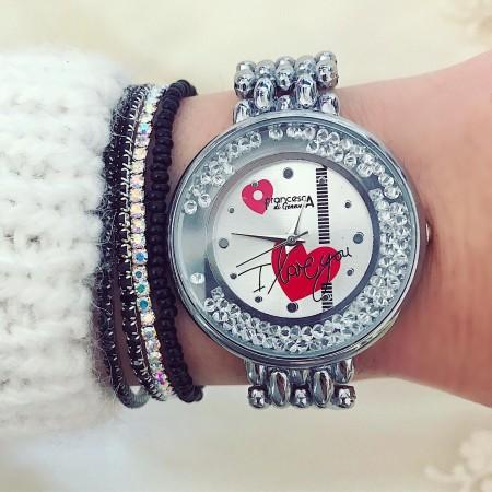 Ceas dama argintiu cu inimioara rosie cu pietricele in cadran