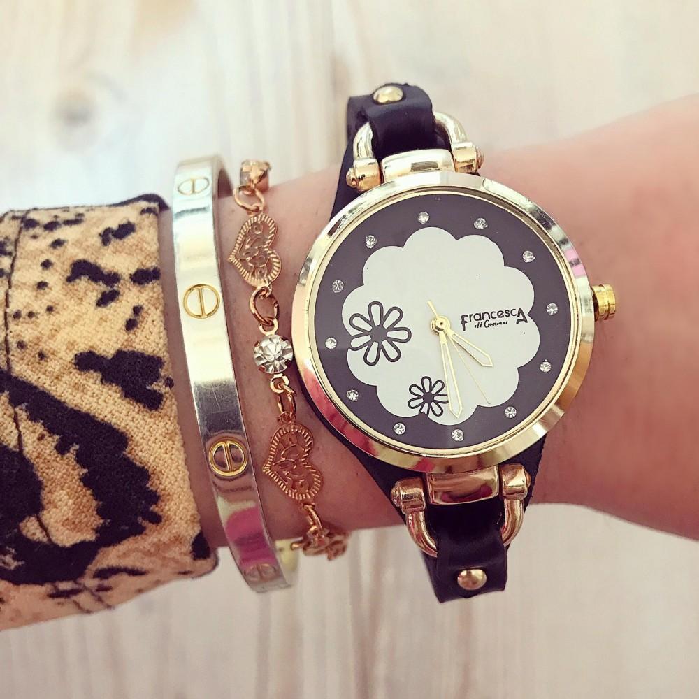 Ceas dama negru auriu elegant cu model