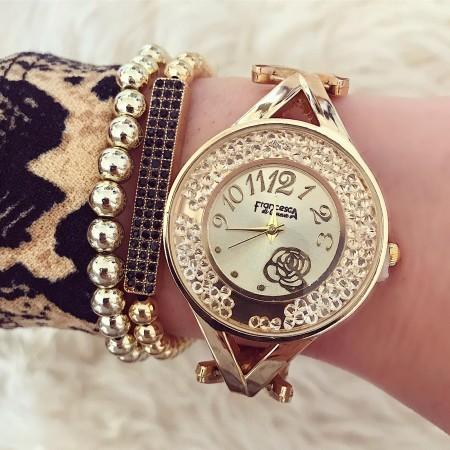 Ceas dama auriu elegant din material premium cu model floare