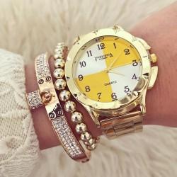 Ceas dama auriu cu galben elegant premium