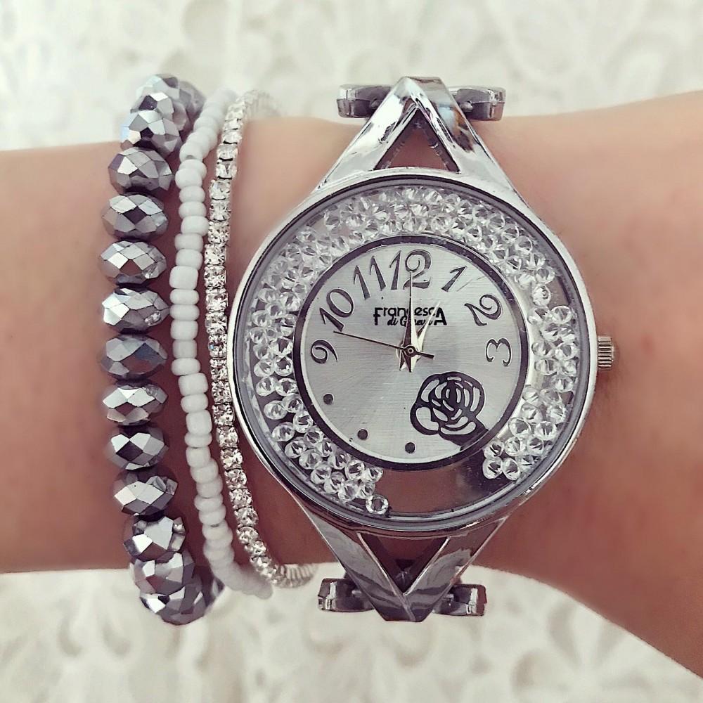 Ceas dama argintiu cu pietricele in cadran si model floare