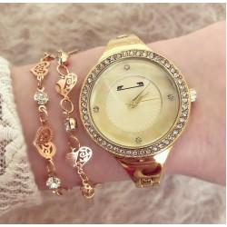 Ceas dama auriu cu pietricele material premium