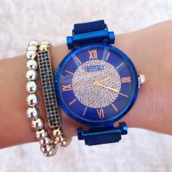 Ceas dama albastru fashion cu sistem inchidere magnet
