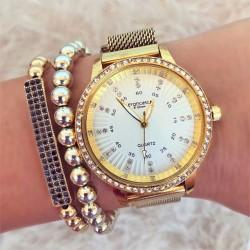 Ceas dama elegant auriu cu pietricele cu sistem de inchidere magnet