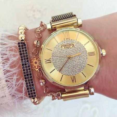 Ceas dama auriu elegant cu pietricele cu sistem inchidere magnet