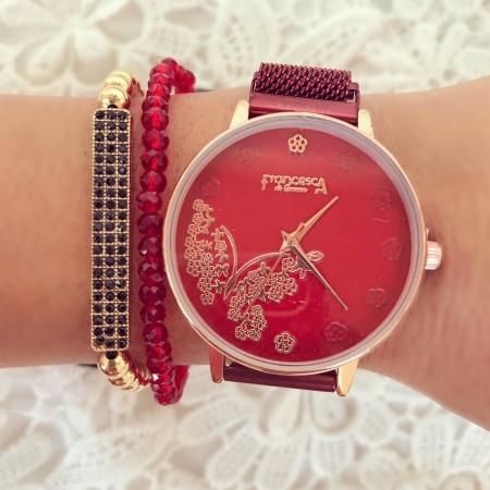 Ceas dama rosu cu magnet elegant