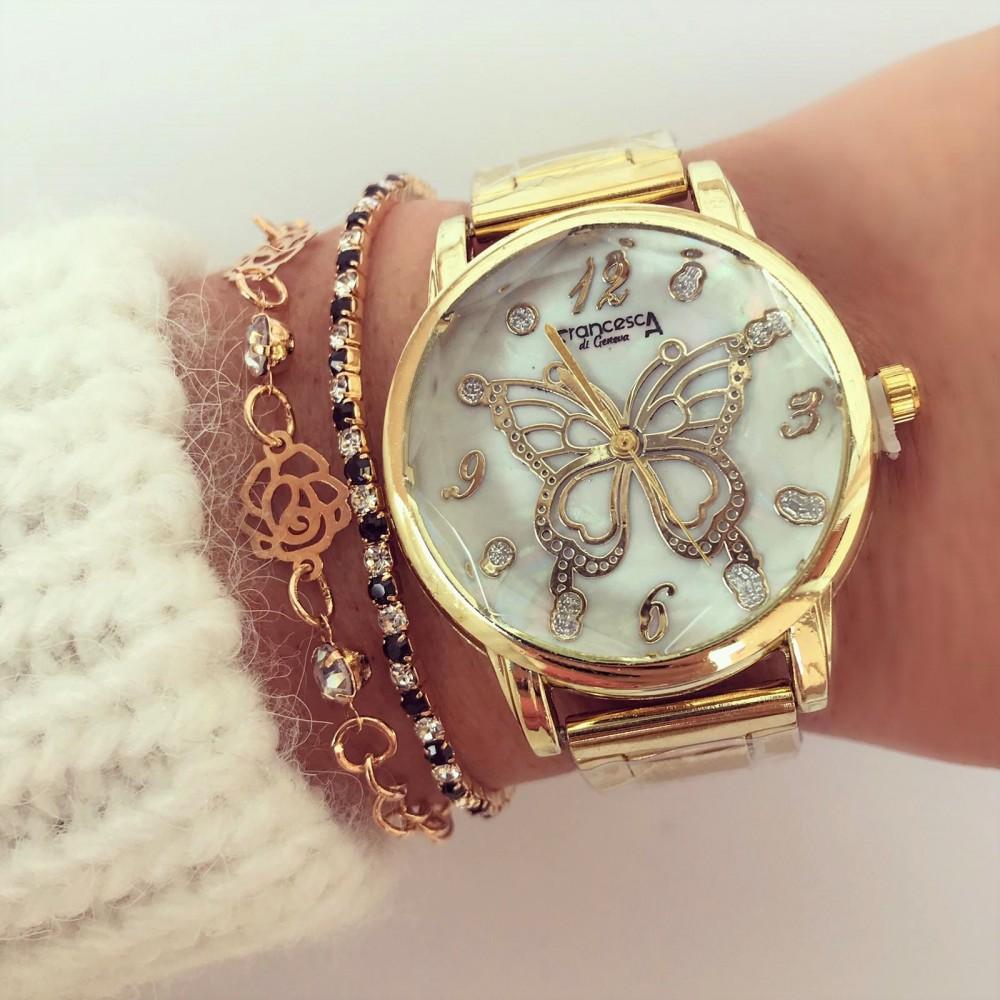 Ceas dama auriu elegant cu model fluture