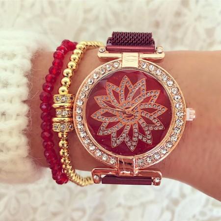 Ceas dama rosu elegant cu pietricele cu magnet