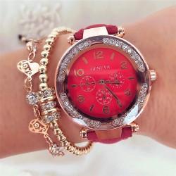 Ceas dama elegant rosu din piele ecologica cu pietricele