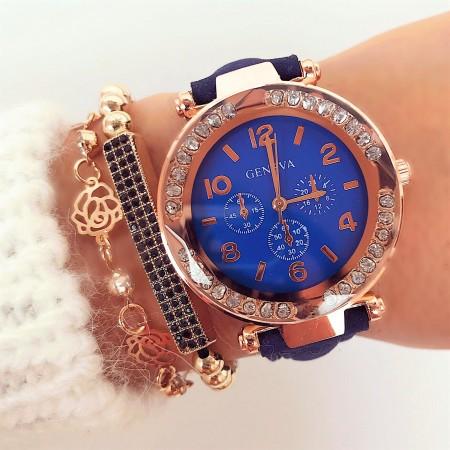 Ceas dama albastru elegant cu pietricele din piele ecologica