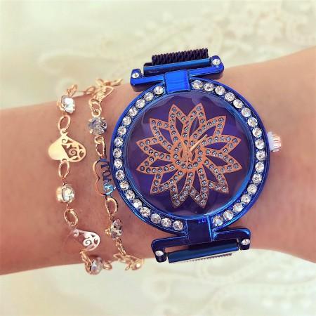 Ceas dama elegant albastru cu pietricele si magnet