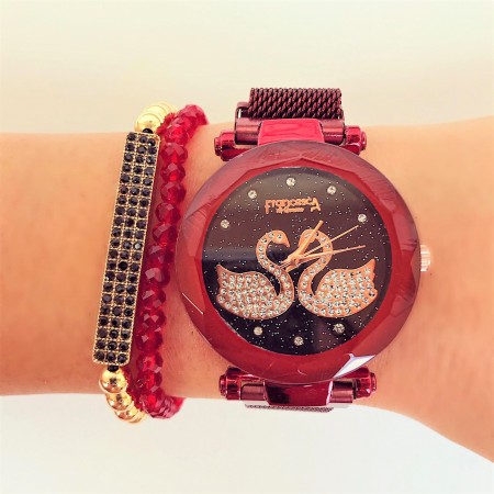 Ceas dama elegant rosu cu sistem magnet cu pietricele