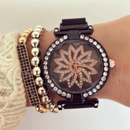 Ceas dama negru elegant cu pietricele si sistem magnet