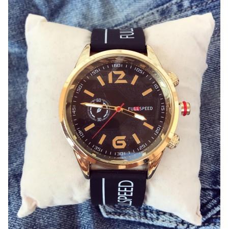 Ceas barbatesc negru ieftin din silicon cu cadran negru auriu