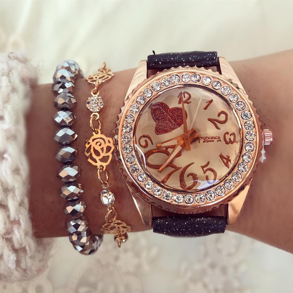 Ceas dama negru elegant cu inimioara din piele lucioasa