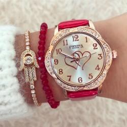 Ceas dama rosu elegant din piele eco cu inimi in cadran