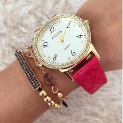 Ceas dama elegant rosu din piele lucioasa cu pietricele
