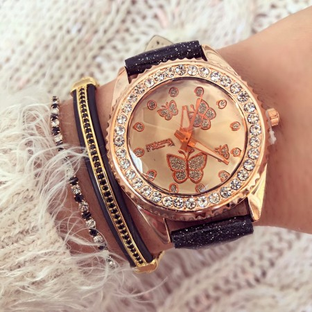 Ceas dama negru elegant cu fluturi si pietricele din piele