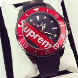 Ceas barbatesc negru cu cadran rosu negru din silicon