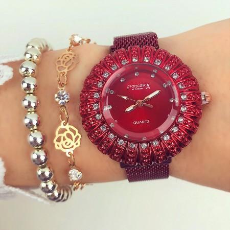 Ceas dama rosu cu sistem de inchidere magnet elegant
