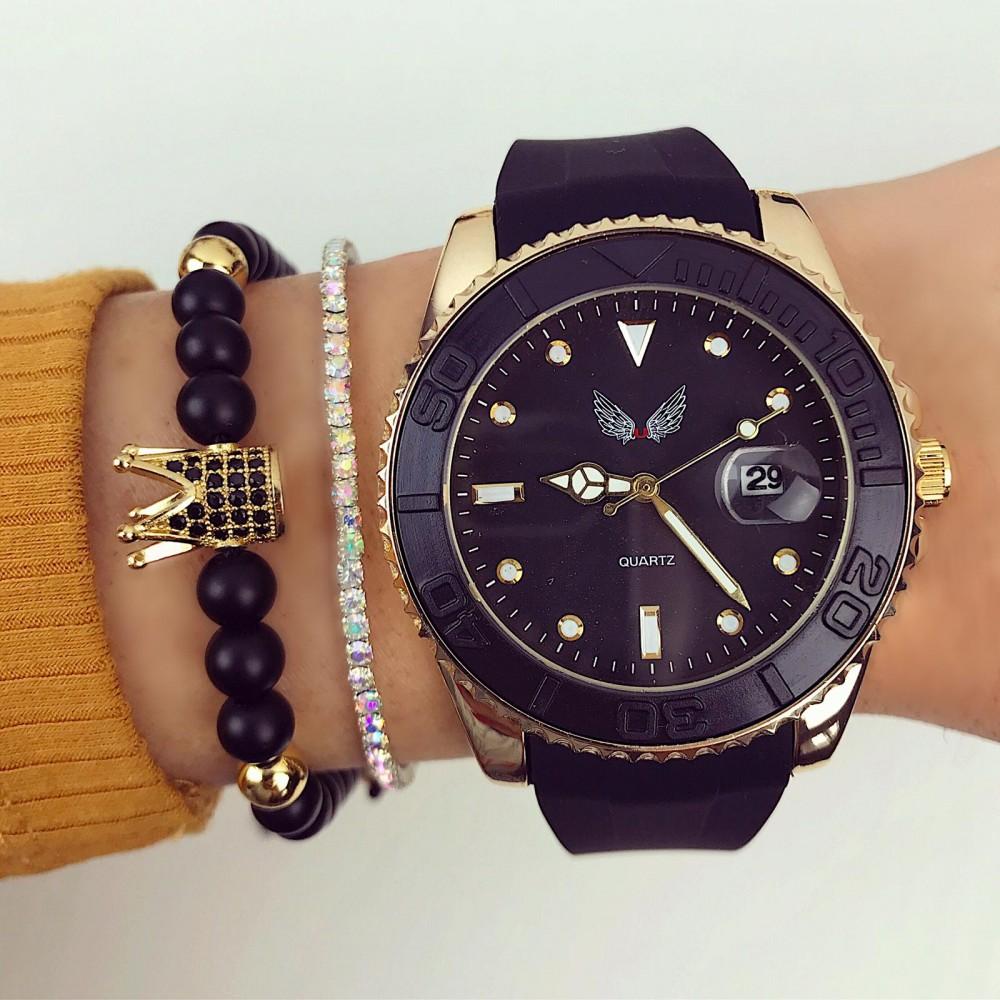 Ceas dama negru elegant din silicon