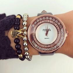 Ceas dama negru elegant cu pietricele din piele eco