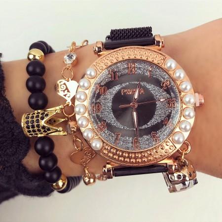 Ceas dama negru cu sistem de inchidere magnet elegant