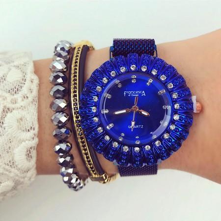 Ceas dama albastru elegant cu sistem inchidere magnet