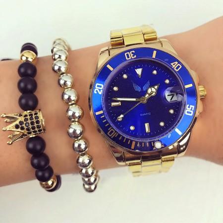 Ceas dama auriu cu cadran albastru elegant premium