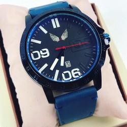 Ceas barbatesc elegant albastru din piele ecologica