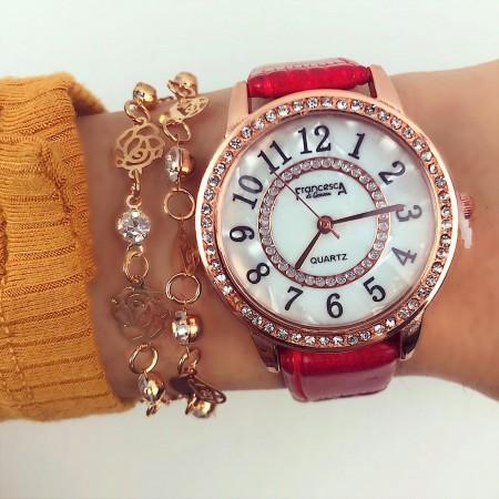 Ceas dama rosu din piele ecologica ieftin cu pietricele