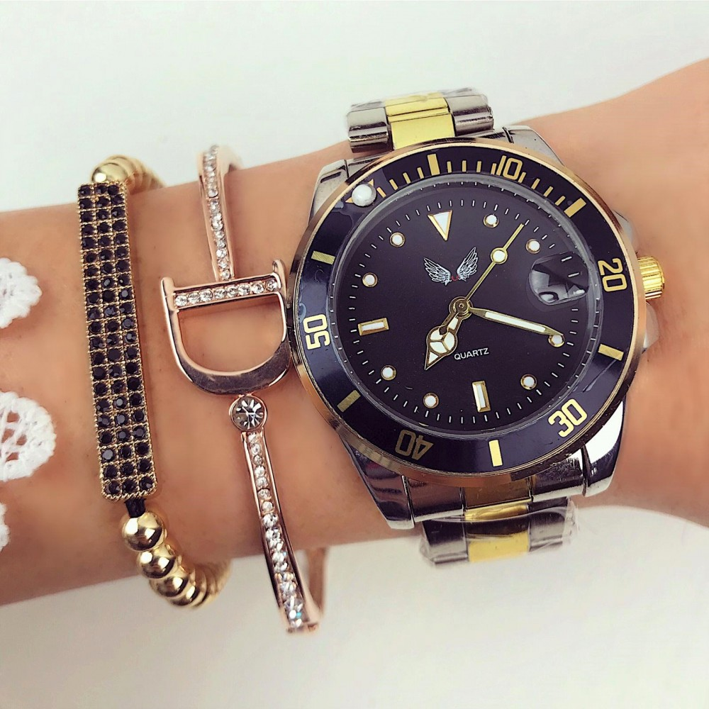 Ceas dama elegant negru auriu premium