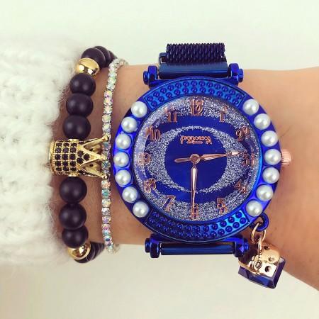 Ceas dama albastru elegant cu pietricele premium